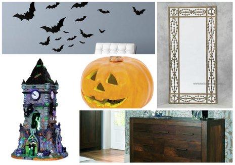 bats, mirror, LED pumpkin, haunted caste and dark walnut chest