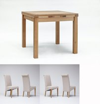Sherwood Oak Drawleaf Extending Table 900-1600mm & 4 Tivoli Oak Fabric Rollback Chairs