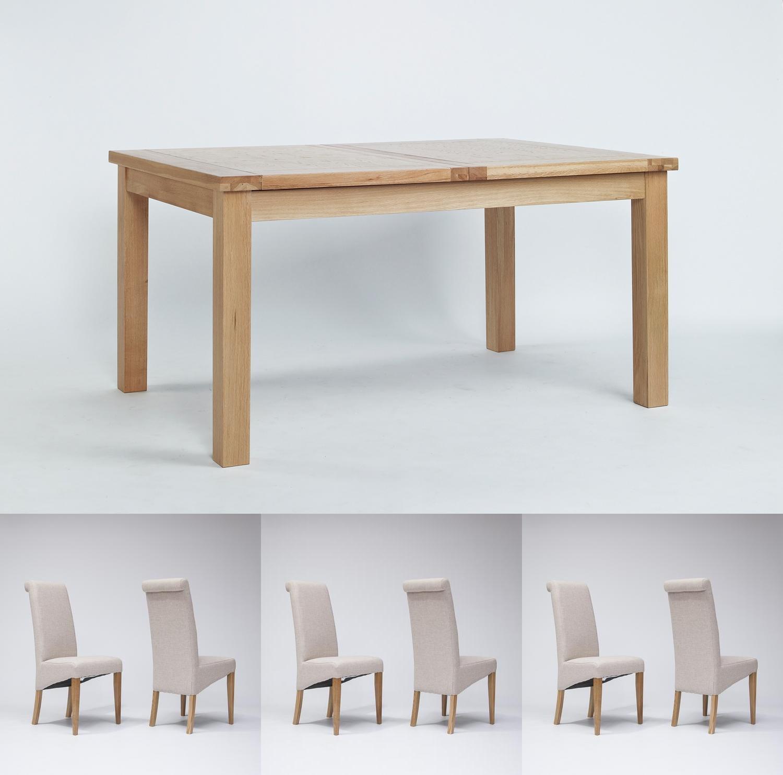 Sherwood Oak Extending Dining Table 1320 1980mm 6 or 8 Tivoli Oak Fabric Rollback Chairs (8 Blue Chairs)