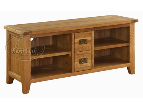 Vancouver Oak TV Unit with 4 Shelves & 2 Drawers