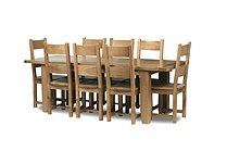 Chiltern Grand Oak Extending Dining Table - 1800-2300mm & 8 Dining Chairs with Timber Seats