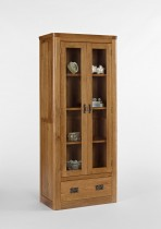 Knightsbridge Oak Glass Display Cabinet with Drawer